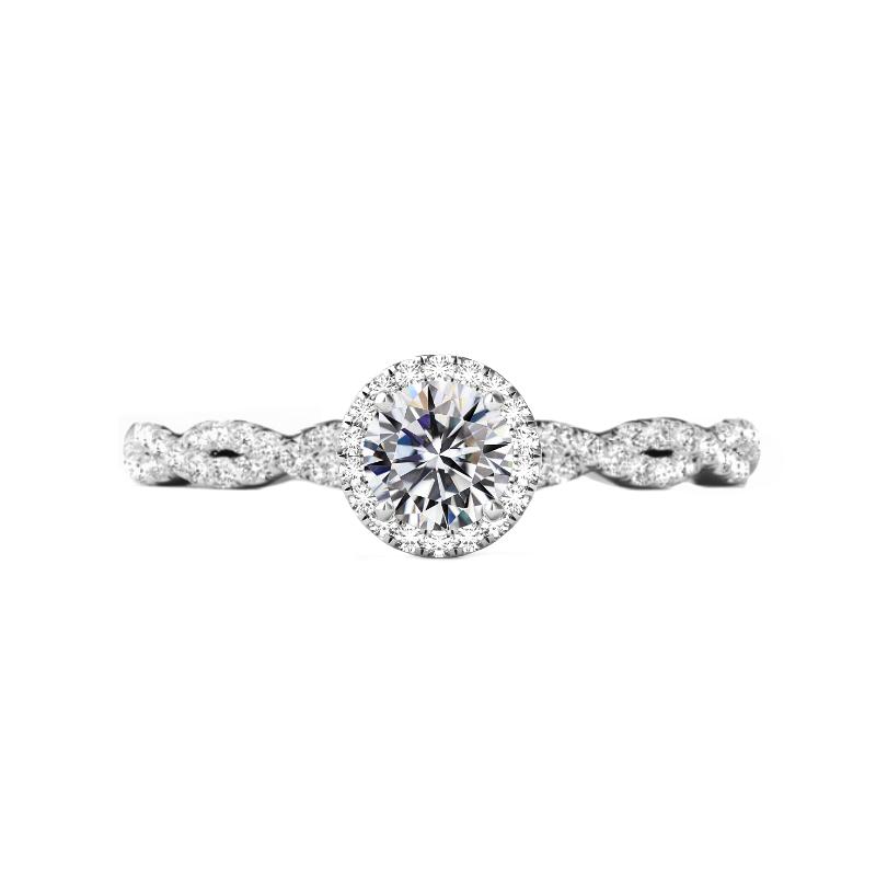 0.50 Carat Round Diamond & Halo Twisted Shank Ring