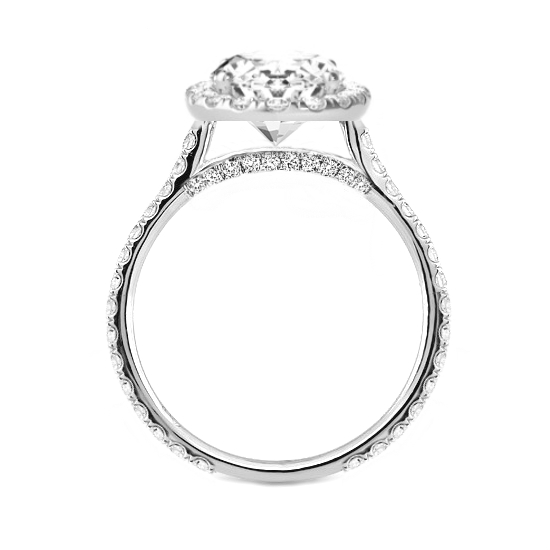 7 Carat Moissanite & 2mm Diamond Halo Ring