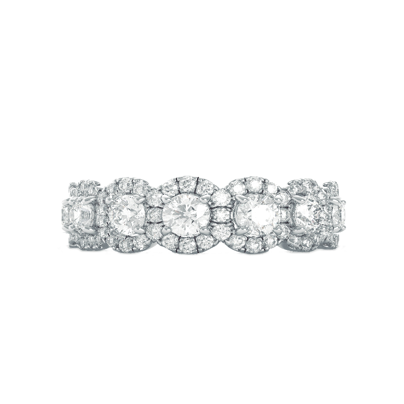 3 CT Antique Cushion Moissanite, Diamond Hidden Halo Ring & Diamond Halo Eternity Band