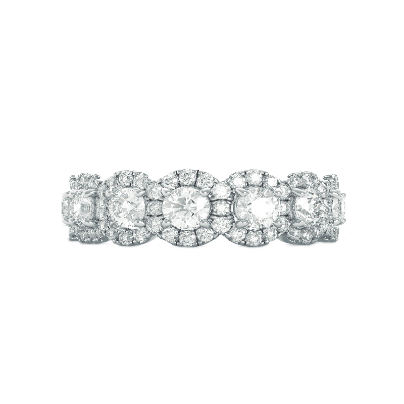 4 Carat Round Diamond & Halo Eternity Band