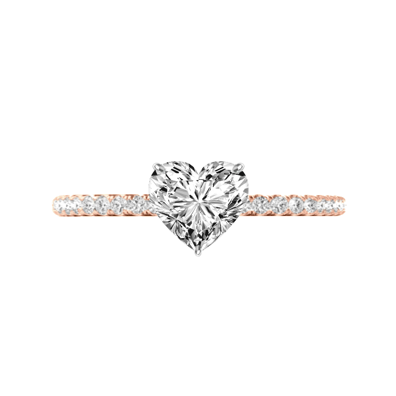 0.70 Carat Heart Diamond Pave Rose Gold Ring