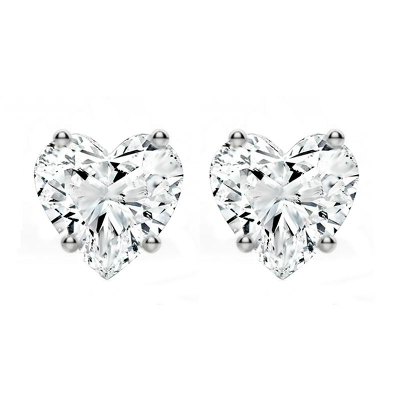 1.50 ctw Diamond Heart Stud Earrings