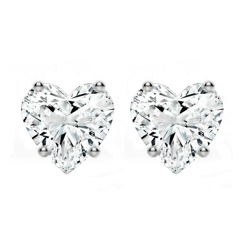 1.50 ctw Diamond Heart Stud Earrings