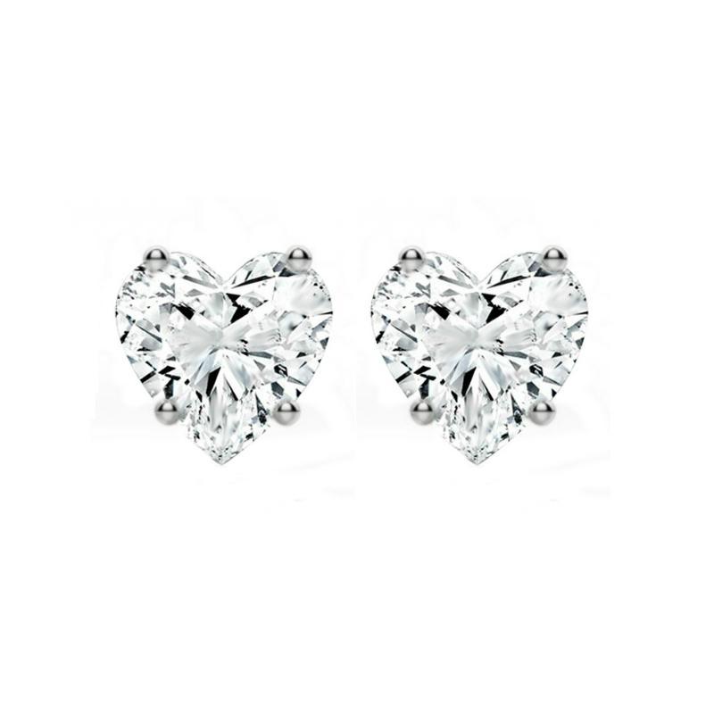 1 ctw Heart Diamond Stud Earrings
