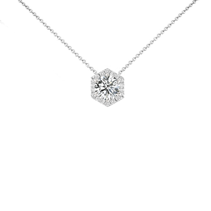 1 Carat Round Diamond & Hexagon Halo Necklace