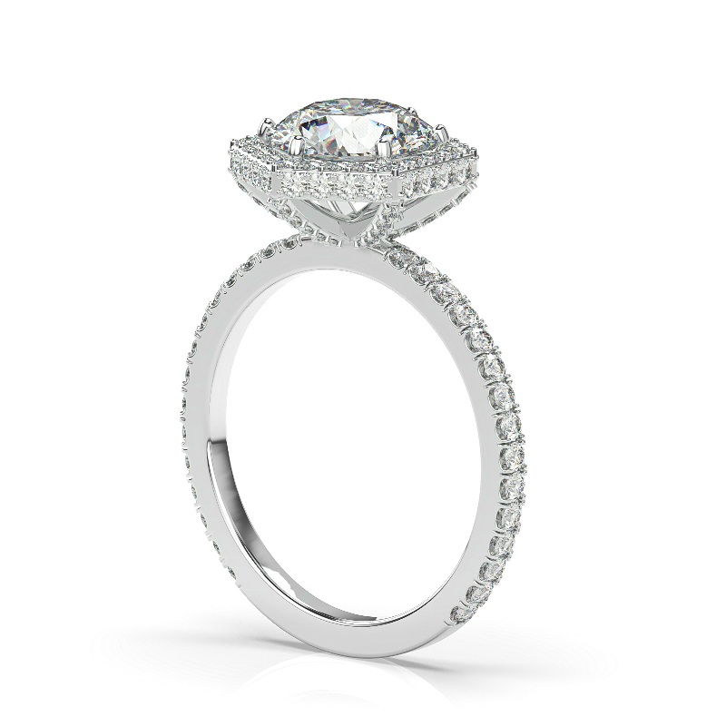 1 Carat Round Diamond & Double Edge Hexagon Halo Ring