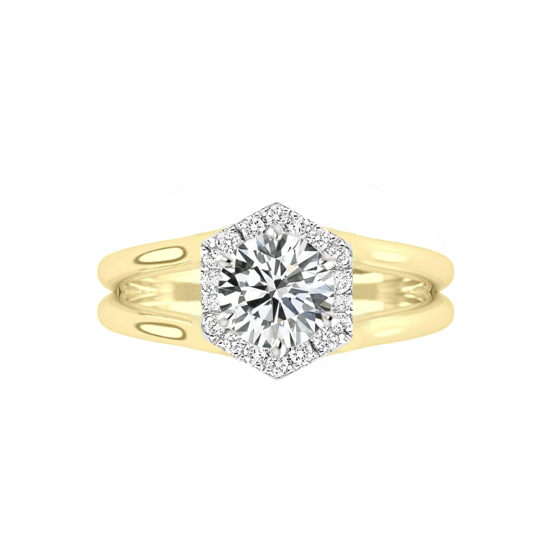 1.50 Carat Round Moissanite & Diamond Hexagon Halo Split Band Solitaire