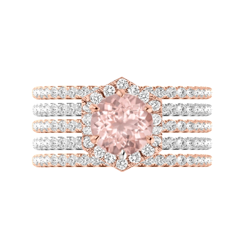 2 Carat Morganite & Diamond Hexagon Halo Five Ring Set