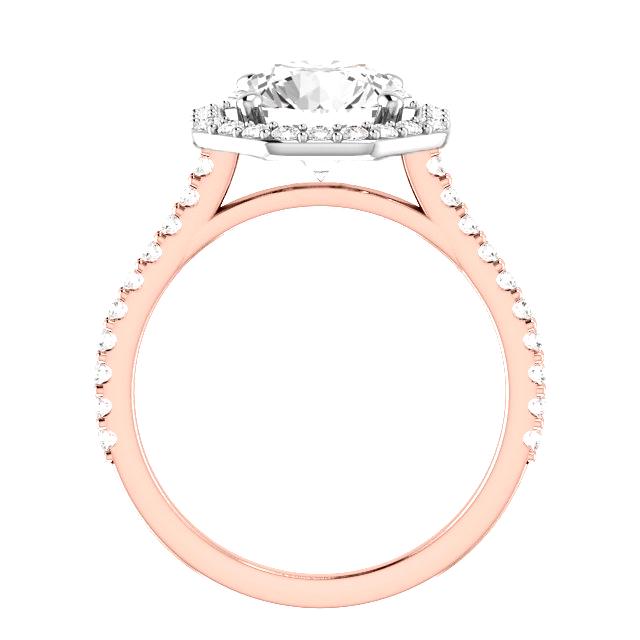 1.00 Carat Round Diamond & Hexagon Halo Ring Two Tone Gold Wedding Set