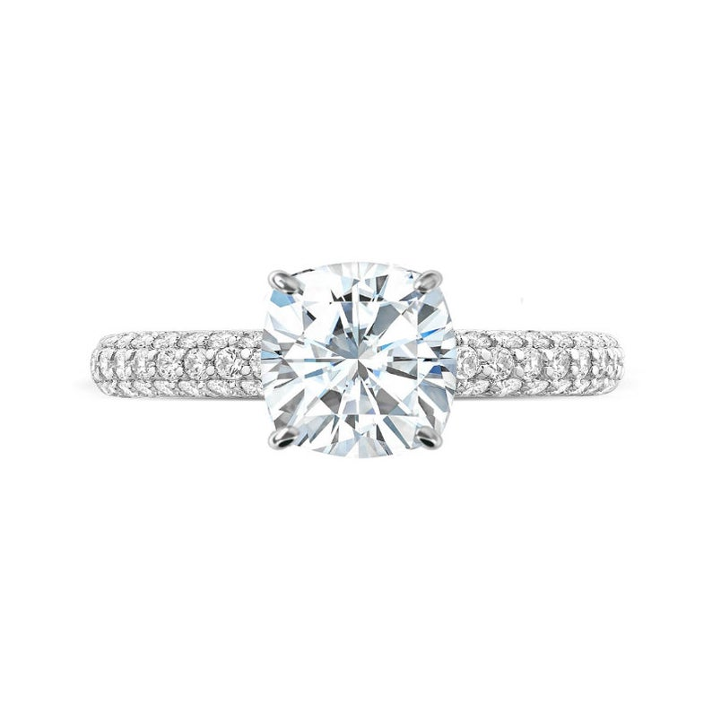 3 Carat Cushion Moissanite & Diamond Hidden Halo Three Row Pave Ring
