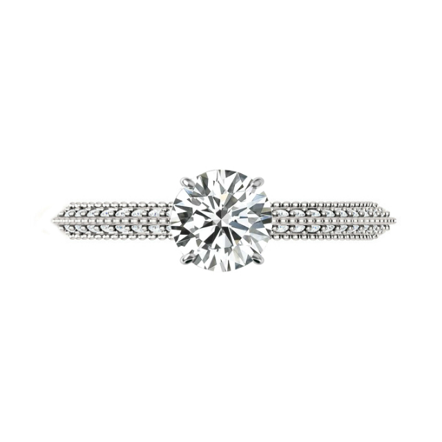 1.00 Carat Round Moissanite & Diamond Pave Knife Edge Engagement Ring