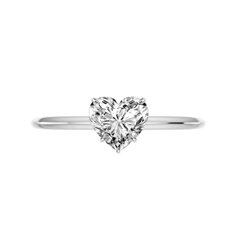 2 Carat Heart Diamond Knife Edge Solitaire Ring
