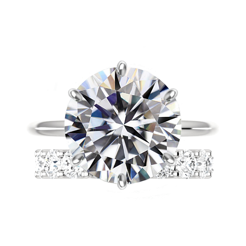 10 Carat Round Moissanite Classic Solitaire & 4mm Diamond Eternity Band