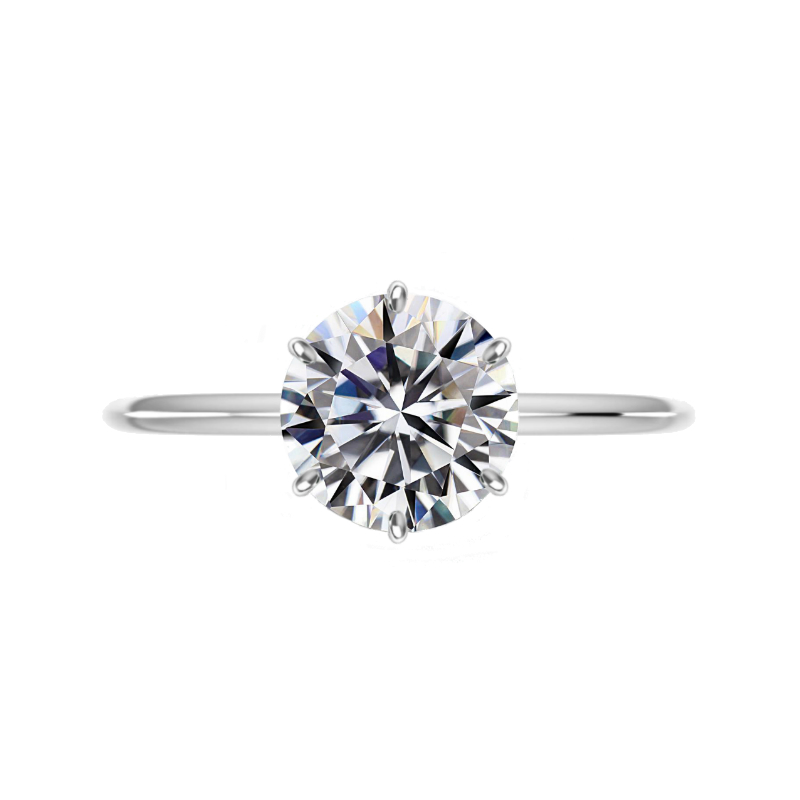 3.50 Carat Round Moissanite Six Prong Knife Edge Solitaire Ring