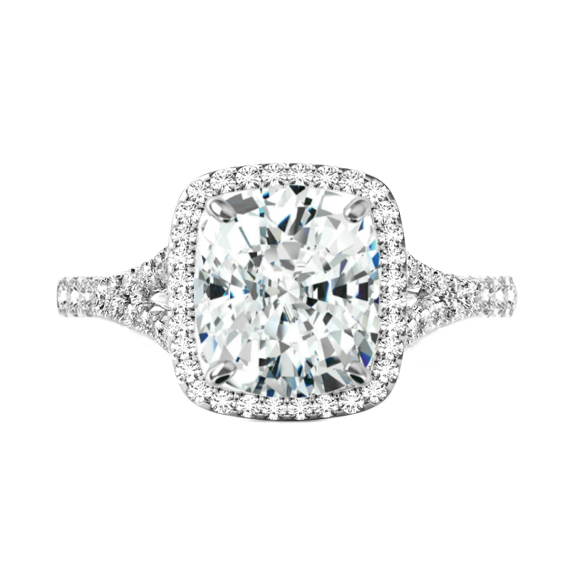 5.70 ct Cushion Moissanite & Diamond Halo Split Shank Ring