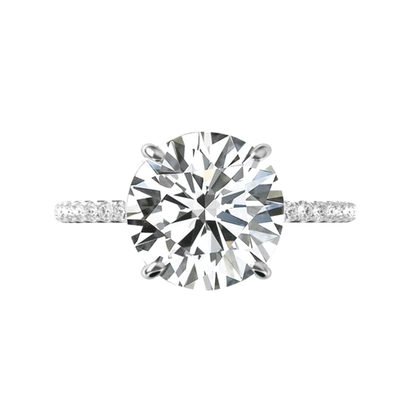 6 Carat Round Moissanite & Hidden Halo Engagement Ring