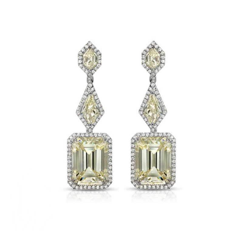 Geometric Yellow Diamond Dangle Earrings