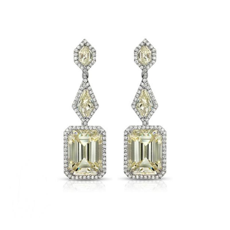 Geometric Yellow Diamond Dangle Earrings