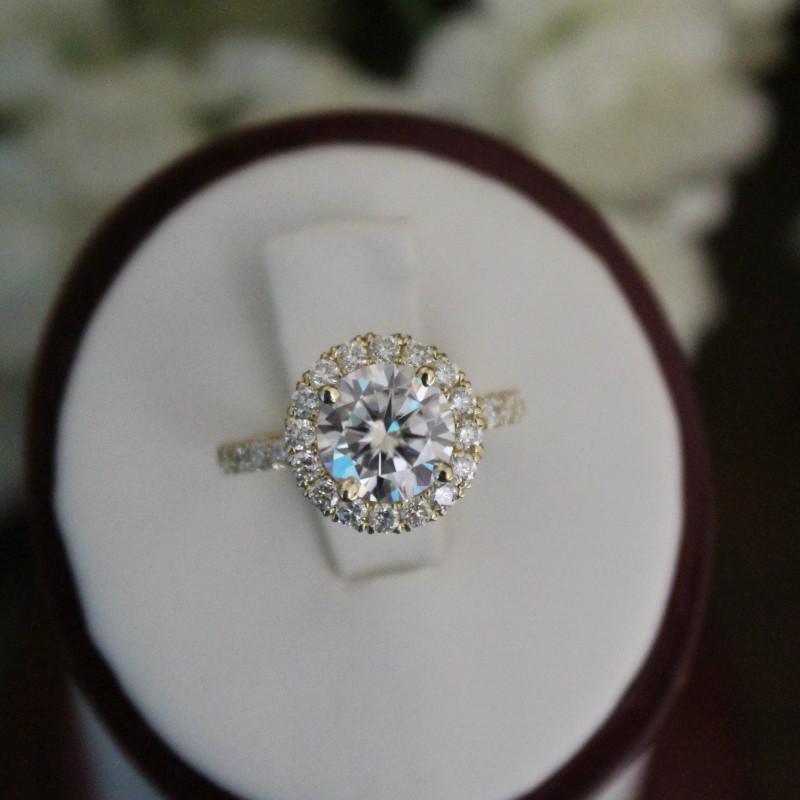 1.50 Carat Harro Moissanite & Diamond Halo Ring