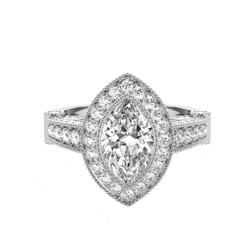 1 Carat Marquise Diamond & Bright Cut Pave Halo Ring