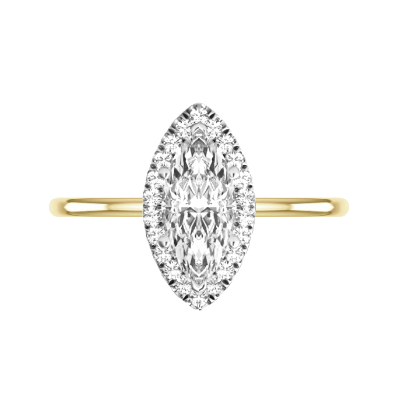 2 Carat Marquise Lab Grown Diamond & Halo Solitaire Ring
