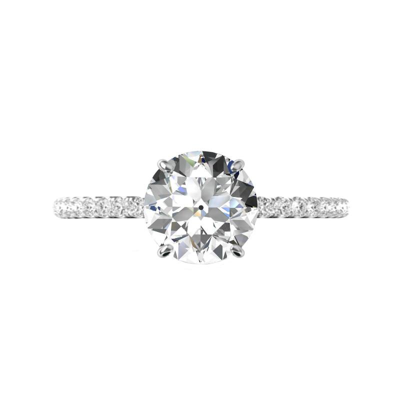3 ct Old European Cut Moissanite & Diamond Hidden Halo Ring
