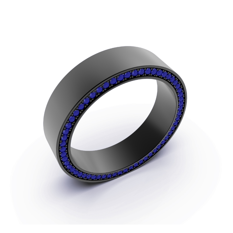 Men's Black Plated Gold Blue Sapphire Band (7mm)