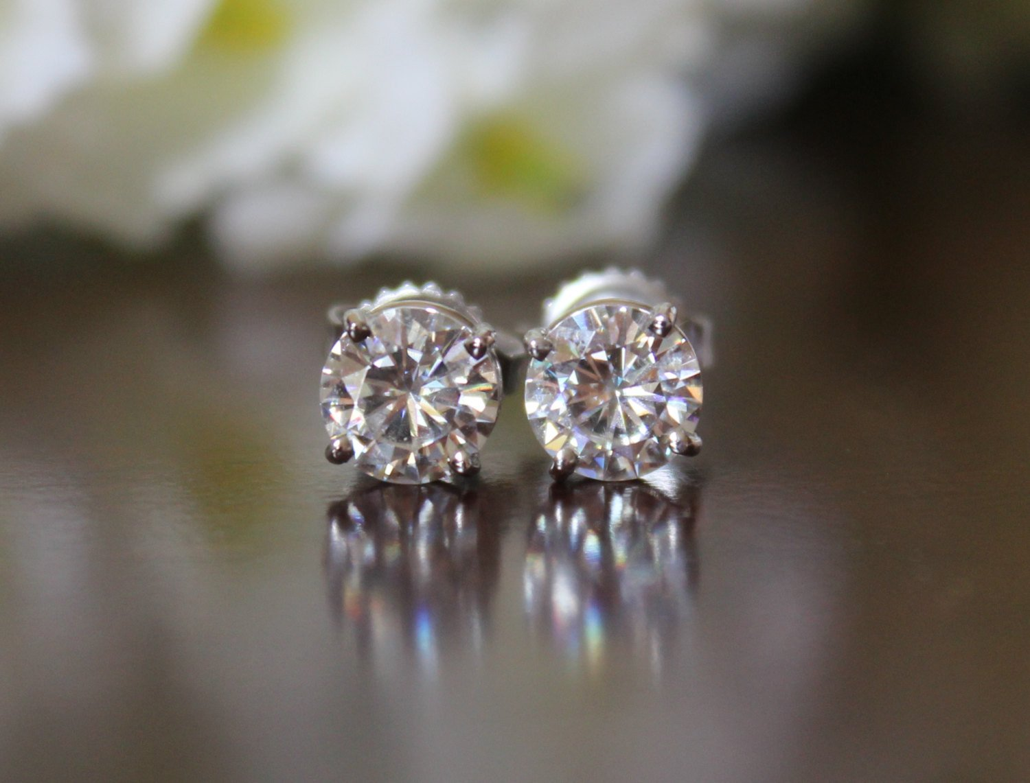 1 ctw Forever One Moissanite Stud Earrings 14k (5mm)