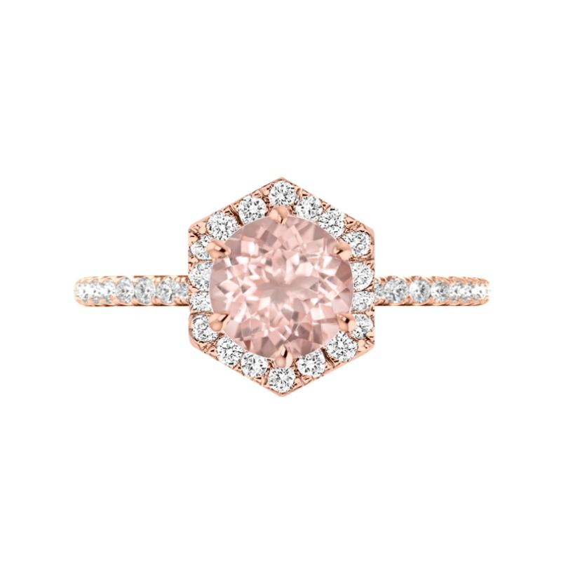 2 Carat Round Morganite & Diamond Hexagon Halo Ring