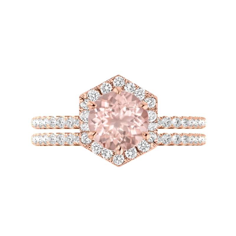 2 Carat Round Morganite & Diamond Hexagon Halo Ring Set