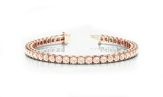9 Carat Pink Morganite Tennis Bracelet 14k Rose Gold