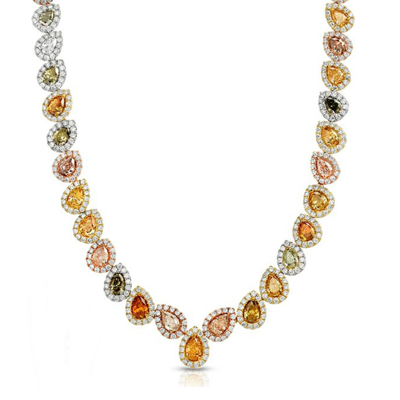 Fancy Multicolor Pear Diamond & Halo Necklace