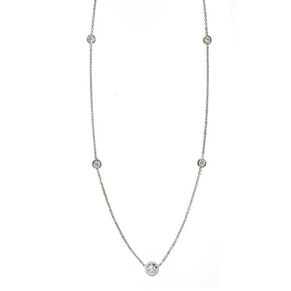 6.5mm OEC Moissanite & Diamond Bezel Station Necklace