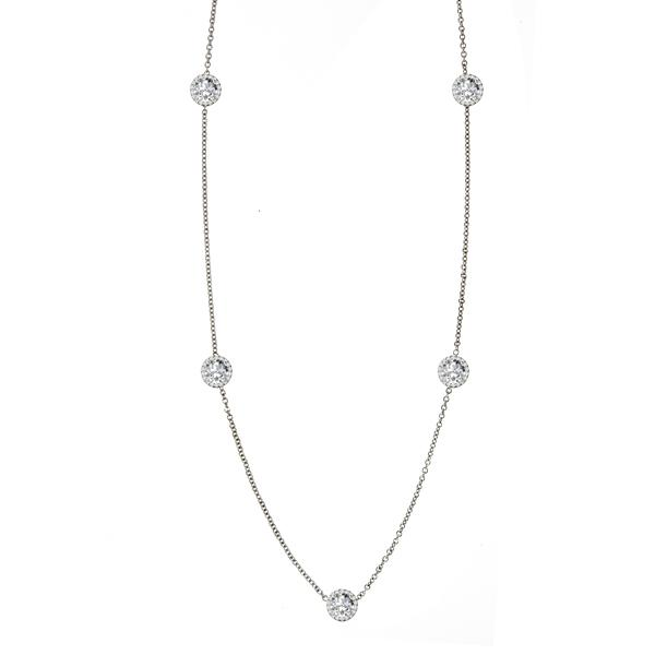 6.5mm Old European Cut Moissanite & Diamond Halo Station Necklace