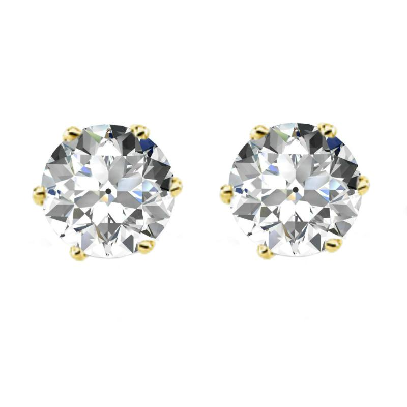4.00 carats tw. Old European Cut Moissanite Six Prong Stud Earrings 14k Yellow Gold