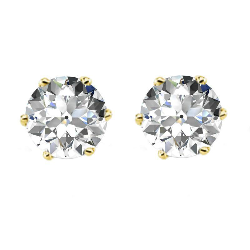 4.00 carats tw. Old European Cut Moissanite Six Prong Stud Earrings 14k Yellow Gold