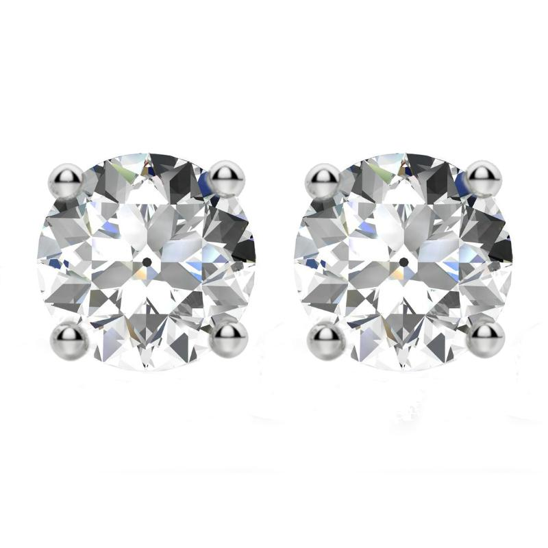 4.00 carats tw. Old European Cut Moissanite Four Prong Stud Earrings 14k White Gold