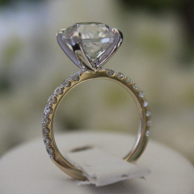 4.20 Carat Antique Cushion Moissanite & Diamond Ring