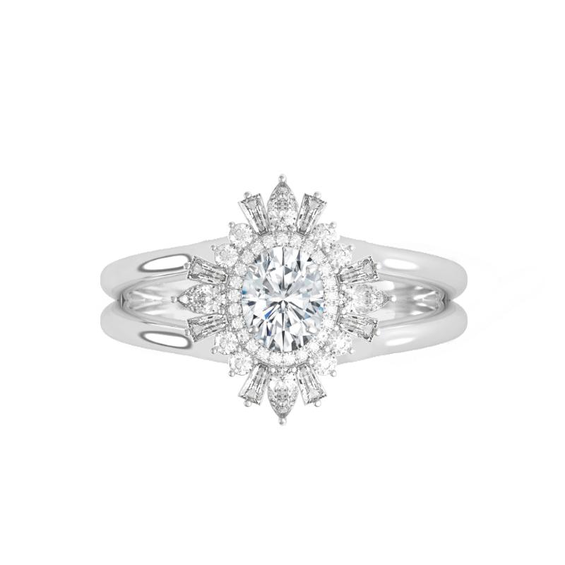 0.50 Carat Oval Diamond & Art Deco Halo Split Band Ring