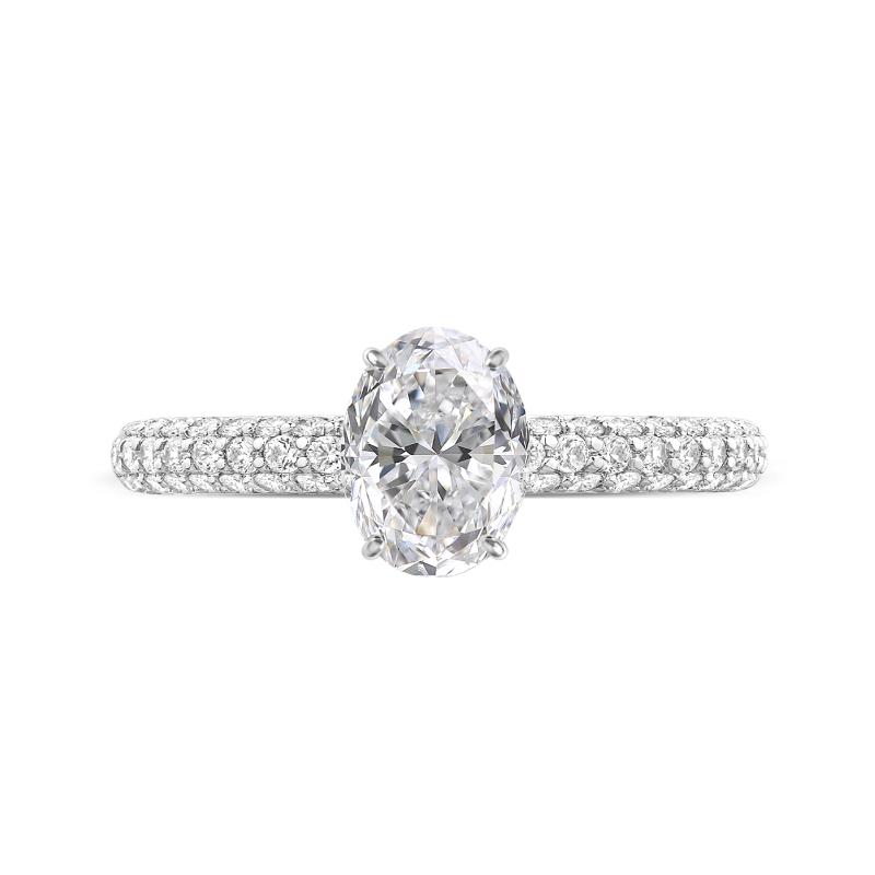 1.50 Carat Oval Diamond & Hidden Halo Three Row Pave Ring