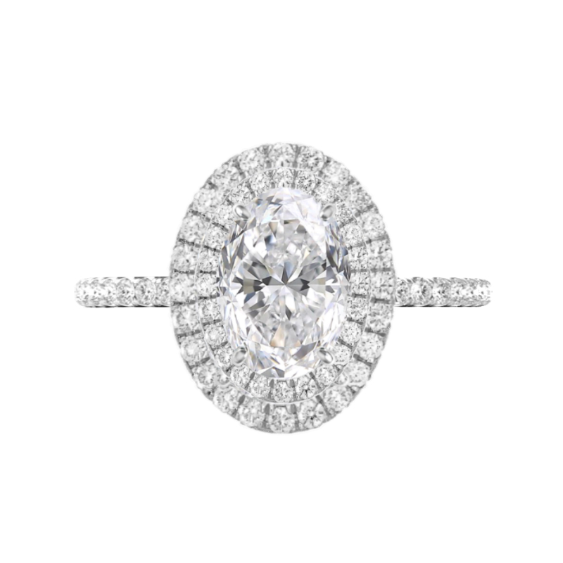 1 Carat Oval Diamond & Double Halo Diamond Edge Ring