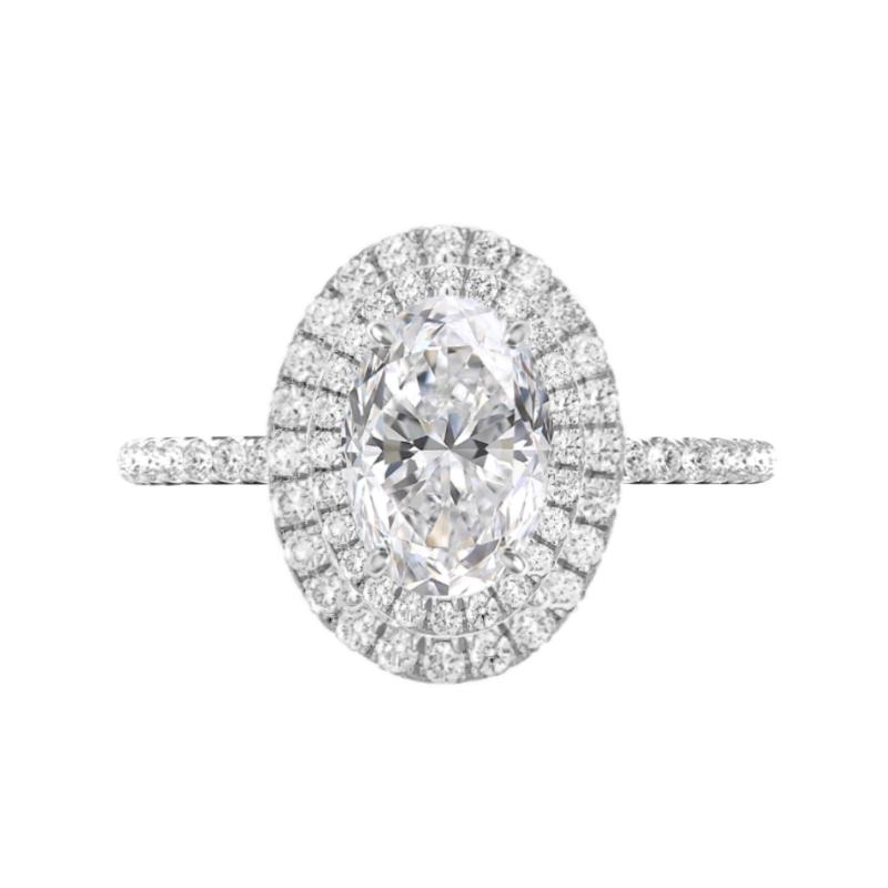 1 Carat Oval Diamond & Double Halo Diamond Edge Ring
