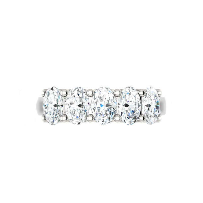 2.50 Carat Oval Diamond Five Stone Band