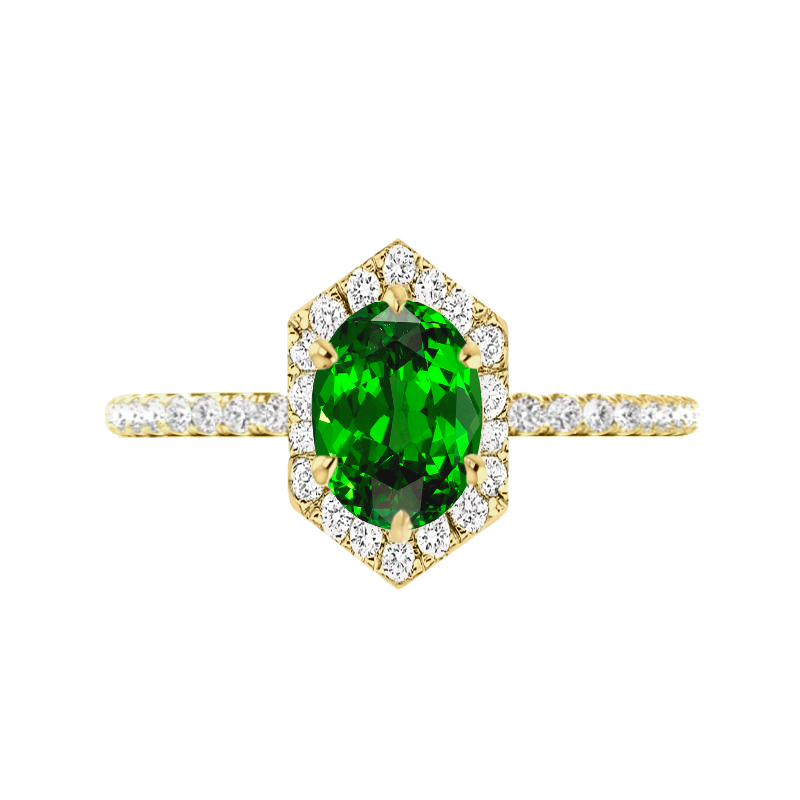 1.85 Oval Tsavorite Garnet & Diamond Hexagon Halo Ring
