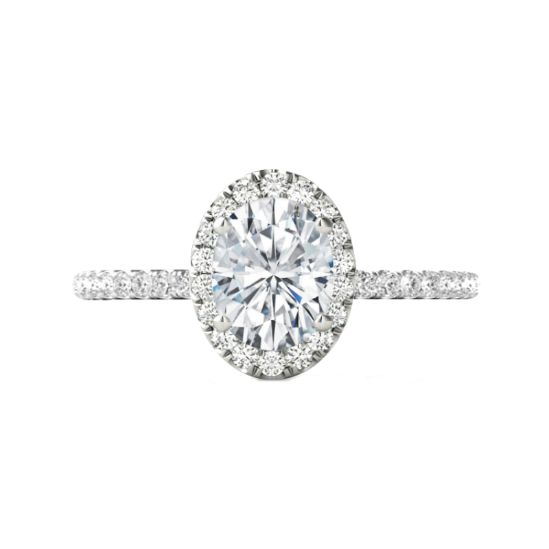 2.00 Carat Oval Forever One Moissanite & Diamond Halo Engagement Ring