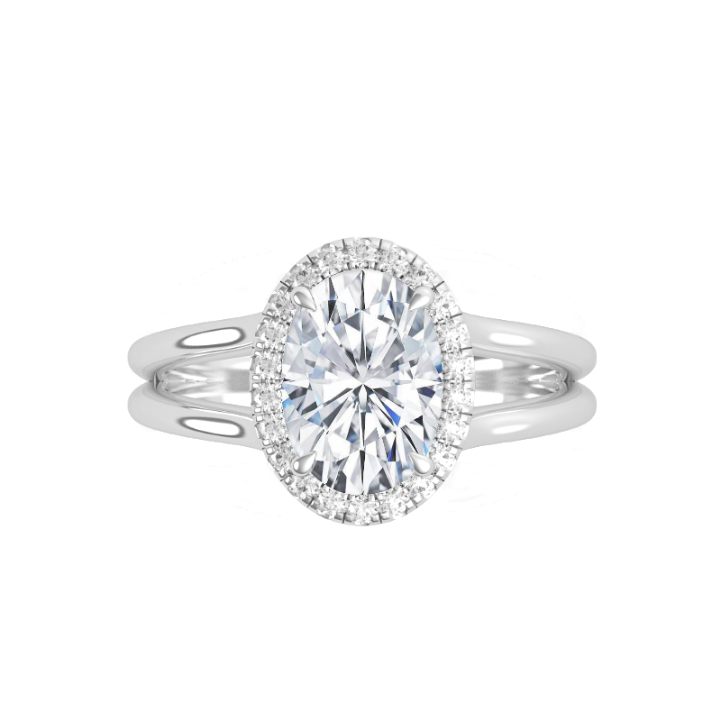 1.50 Carat Oval Moissanite & Diamond Halo Split Band Hidden Initial Ring