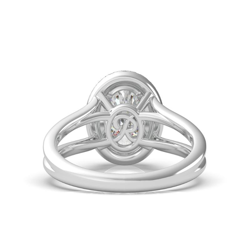 1 Carat Oval Diamond & Halo Split Band Hidden Initial Ring