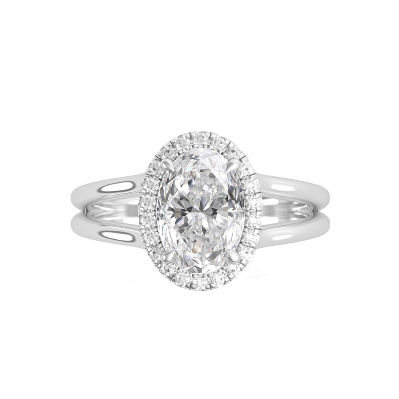 1 Carat Oval Diamond & Halo Split Band Hidden Initial Ring