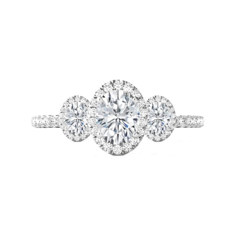 0.75 Carat Oval Diamond & Halo Three Stone Ring