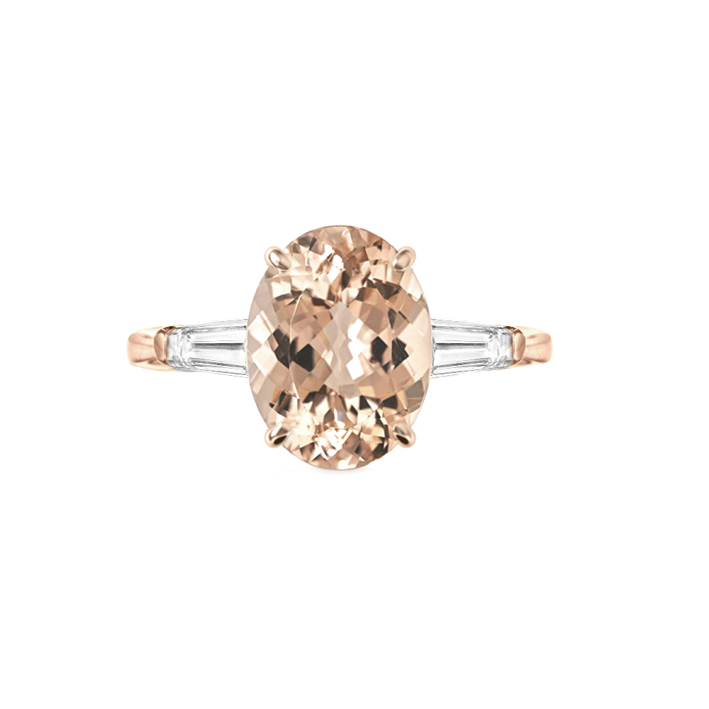 3 Carat Oval Morganite & Diamond Baguette Rose Gold Ring
